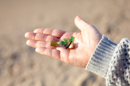 Closeup of ladys hand holding pieces of green sea glass collection on the beach. 스톡 콘텐츠