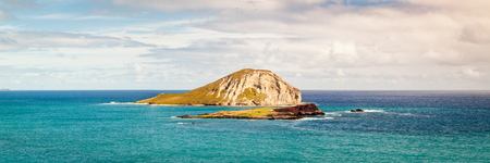 Seascape panorama of Kaohikaipu Island State Seabird Sanctuary from Makapuu Lookout on Oahu, Hawaii, USA.