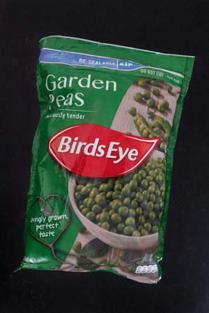 Largs, Scotland, UK - February 13, 2018: A packet of BirdsEye frozen garden peas