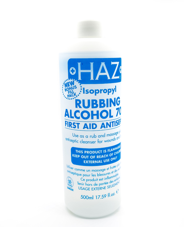 Largs, Scotland, UK - April 06, 2018: Haz Isopropyl 70% Rubbing Alcohol in Recyclable Plastic Bottle and in line with recent UK eco initiatives. Redakční