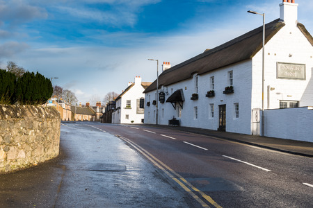 Kirkoswald,Scotland,UK-November 25 ,2017: The thatched roofs and white buildings of the famous Souters Inn in Kirkoswald Ayrshire made famous by the Scottish Poet Robert Burns and named after his character Souter Johnny.
