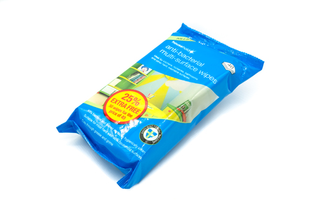 Largs, SCotland, UK - April 25, 2018: Packet of Anti-bacterial Surface Wipes in plastic wrapper that has as yet limited recyclability in most local authorities accross the UK