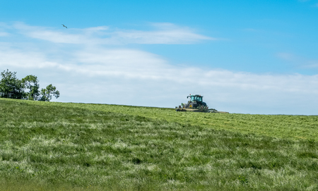 A Scottish farmer in a tractor cutting the grass for next years silage on a warm early summer day. Stock Photo