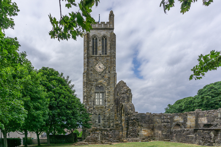 The ancient ruins of Kilwinning Abbey and the old Clock Tower that stands over the abbey.