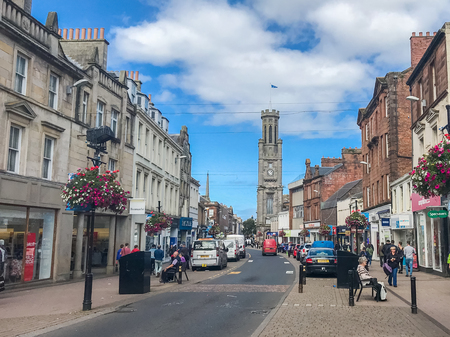 Ayr, Scotland, UK - August 29, 2018: Looking down High Street Ayr where most of the street has been pedestrianised in a bid to control traffic in the town centre.