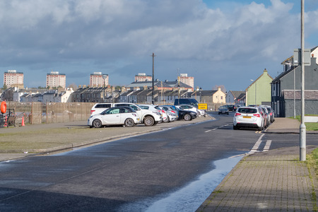 Looking over harbour Street in Irvine towards the town of Irvine on a cold day in January March