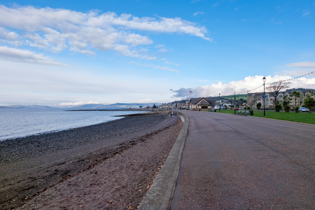 Looking along the seafront of largs on the West Coast of Scotland Stock fotó