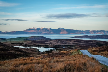 The Isle of Arran in Winters cold morning with the moor land in winter brown and cold colours.