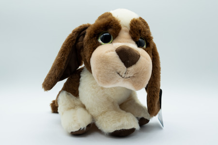 Cuddly Brown and white cuddly dog toy designed from a spaniel type dog. 写真素材