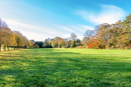 Eglinton Park Irvine North Ayrshire. Public park in Autumn with beautiful fall colours in SCotland