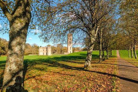 Eglinton Park Irvine North Ayrshire and autumn colours arround the ancient Ruined Castle of Eglinton.