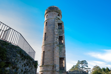 Eglinton Castle Tower  Irvine North Ayrshire on a bright Octobers day in winter.
