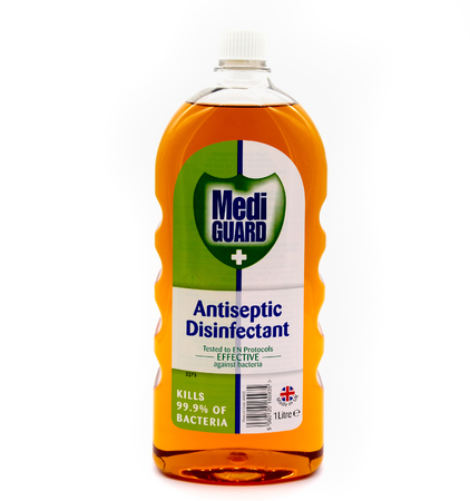 Largs, Scotland, UK -  September 27, 2018: Plastic Bottle Containing Medi Guard Antiseptic Disinfectant bottle can be recycled in most UK Local Authoritiers.