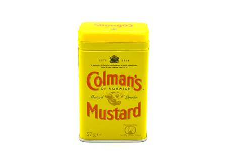 Largs, Scotlland, UK - October 04, 2018: Colman's branded tin of mustard with plastic lid not all recyclable in the UK. Editorial