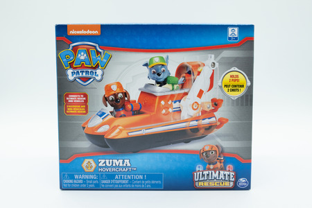 Largs, Scotland, UK - November, 29, 2018: Nickelodeon branded Paw patrol children's toy in recyclable packaging and in line with current UK guidelines.