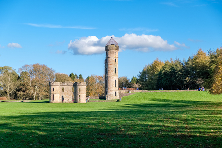 Irvine, Scotland, UK -  October 15, 2018: Eglinton Castle & Park Irvine North Ayrshire. Public park in Autumn and the first day of the October School holidays in North Ayrshire when the park is at its busiest. Editorial