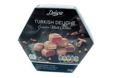 Largs, Scotland, UK - January 02, 2018:  A box of LIDL branded Deluxe Turkish Delight Chocolates in partially recyclable packaging.