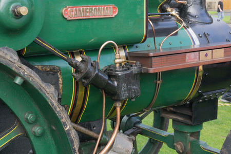 Largs, Scotland, UK - September 2018: Ancient Steam Driven Ayrshire Cameronian Tractor Piston at the annual food festival held in conjunction with the Viking festival bringing much needed tourism to the Scottish town and a good example of this ancient Ayr Editorial