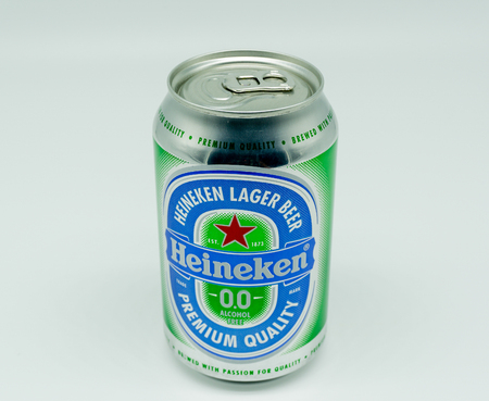 Largs, Scotland, UK - August 14, 2018: Tin of Heineken Alcohol Free Lager Beer in a recyclable tin can and part of the UKs drink wise campaign and In line with current UK recycling Policy
