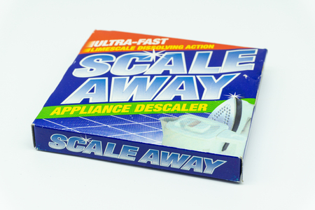 Largs, Scotland, UK - August 14, 2018: Scale away brand descaler in a recyclable cardboard box. In line with current UK recycling Policy