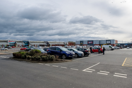 Ayr, Scotland, UK - March 07, 2019: Heathfield Retail Park in Ayr Scotland one of the new retail facilities in the West of Scotland that is pulling business away from the High Streets.