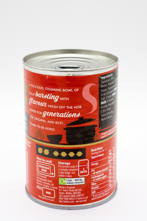 Largs, Scotland, UK - February 19, 2019: Tin of Heinz Branded Tomato Soup in Recyclable tin with Recycling and nutritional detail on back. Editorial
