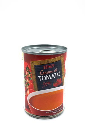 Largs, Scotland, UK - November 22, 2018: Tesco branded tin of tomato soup in recyclable tinned container and in line with current UK environmental guidelines Editorial