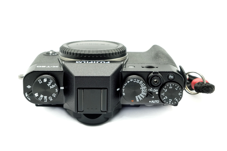 """Largs, Scotland, UK - November 22, 2018: Fujifilm X-T20 Camera body being the smaller brother to the X-T2. This camera has the new X-Transâ""""¢* CMOS III sensor which is APS-C and also has many of t"""