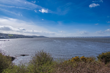 Tay Railway Bridge Dundee on a bright clear day in March near Dundee in Scotland