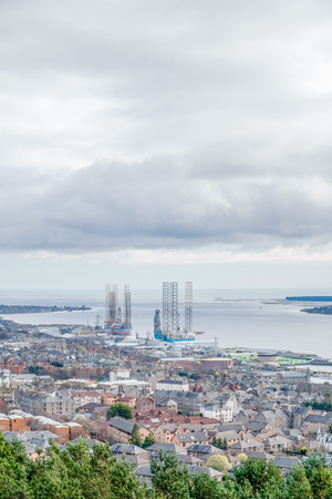 Looking over Dundee City and its harbour accross the Firth of Tay in a wide Panorama that was taken from Dundee Law minument the highest point in Dundee Stock Photo