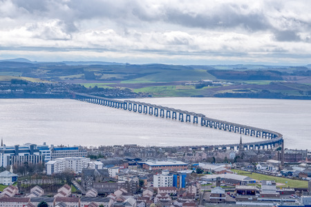 From the monument at Dundee law Hill looking down over the city to the Fourth or Tay Railway Bridge Dundee Scotland Stock Photo