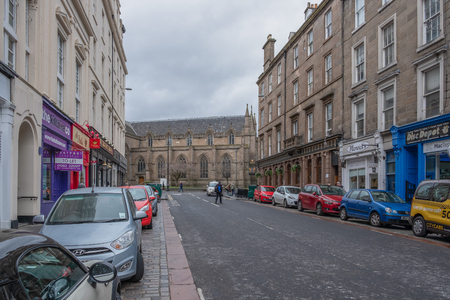Dundee, Scotland, UK - March 22, 2019: Looking up Union Street to St Mary's Church in Dundee's City Centre Scotland Editorial