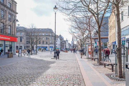 Dundee, Scotland, UK - March 23, 2019: Dundee city Centre quiet for a Saturday afternoon as the retail parks take business from the traditional High Streets in Scotland.