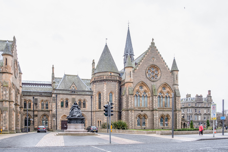 Dundee, Scotland, UK - March 22, 2019: The impressive architecture of the McManus Galleries at the top of Commercial Street Dundee Scotland Editorial
