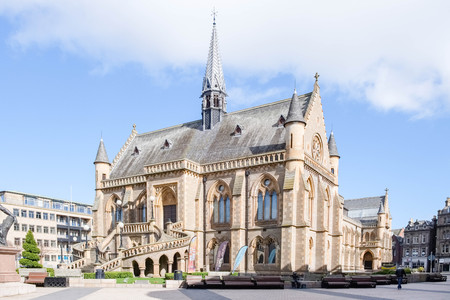 Dundee, Scotland, UK - March 23, 2019: Some of the impressive architecture in Dundee with the McManus Art Gallery and Museum within the city centre of Dundee in Scotland. Editorial