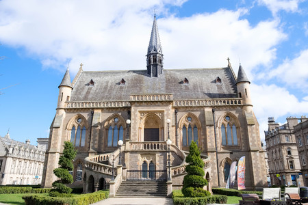 Dundee, Scotland, UK - March 23, 2019: Some of the impressive architecture in Dundee with the McManus Art Gallery and Museum Spier or Tower within the city centre of Dundee in Scotland.