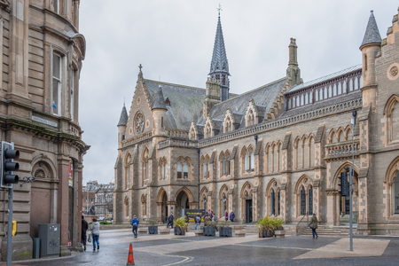Dundee, Scotland, UK - March 22, 2019: The impressive architecture of the McManus Galleries at the top of Commercial Street Dundee Scotland