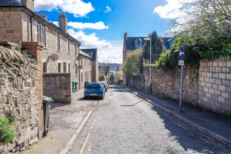 Dundee, Scotland, UK - March 23, 2019:Looking Down Forebank Road where you can see the Fourth Road Bridge in the distance through Dundees ancient streets and buildings within the City. Scotland. Editorial