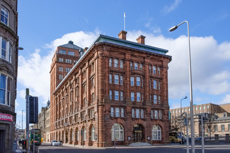 Dundee, Scotland, UK - March 23, 2019: Some of the impressive architecture in Dundee within the city centre of Dundee in Scotland.