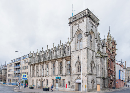 Dundee, Scotland, UK - March 22, 2019: The impressive architecture at Panmure Street & Meadowside in the City Centre of Dundee in Scotland