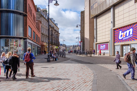 Dundee, Scotland, UK - March 23, 2019: People busy shopping in Wellgate in the City Centre of Dundee in Scotland.