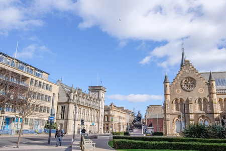 Dundee, Scotland, UK - March 23, 2019: Some of the impressive architecture in Dundee with the McManus Art Gallery and Museum Spier or Tower within the city centre of Dundee in Scotland. Editorial