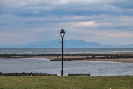 Irvine Harbour North Ayrshire Scotland on a bright but cold day in April with Arran in the Hazy Distance