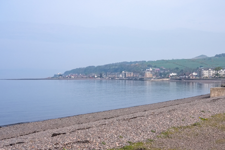 The town of Largs set on the Firth of Clyde on the West Coast of Scotland. Looking towards the Aubery end of the town on a bright clear day.