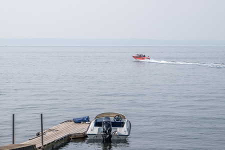 A speed boat on the River Clyde at Largs on the West Coast of Scotland at Easter time.