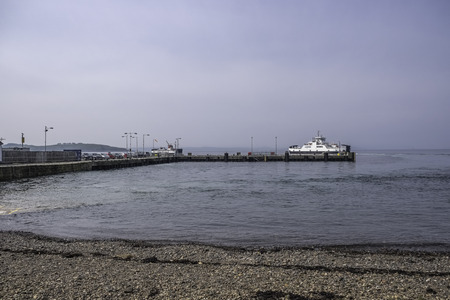Largs Pier and the two Cal-Mac Ferries Loch Shira and Loch Riddon working the Easter weekend. Banco de Imagens