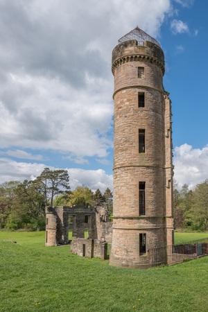 Ancient Ruins at Eglinton Castle  Irvine North Ayrshire Scotland at the start of summer a popular local attraction in Scotland