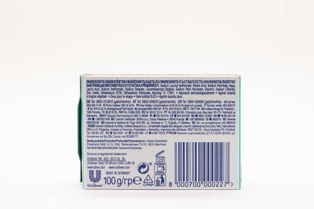 Largs, Scotland, UK - March 14, 2020: One Box of Dove sensitive traditional soap recommended for general hand washing and Carona prevention measures.
