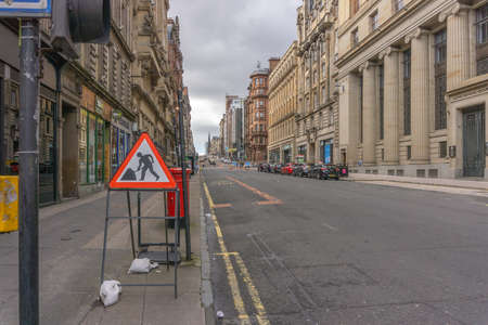 Glasgow City, Scotland, UK - September 22, 2018: St Vincent Street Glasgow surprisingly quiet on a Saturday at middle of the day.
