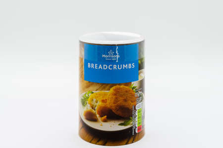 Irvine, Scotland, UK - March 08, 2020: Morrisons Banded Breadcrumbs in recyclable cardboard tub and plastic lid.